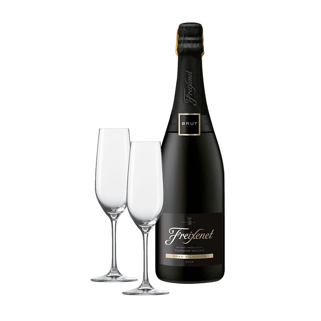 Espumante FREIXENET Cordón Negro Brut Botella 750ml + 2 Copas de Champagne Personalizadas