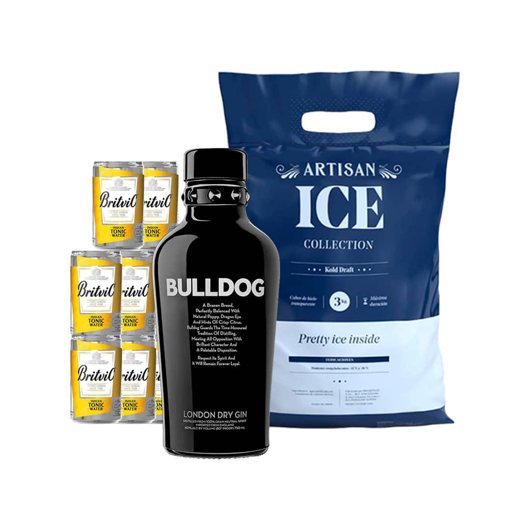 Gin BULLDOG London Dry Botella 750ml + 6 Aguas Tonicas BRITVIC Lata 150ml + Hielo 1.5kg