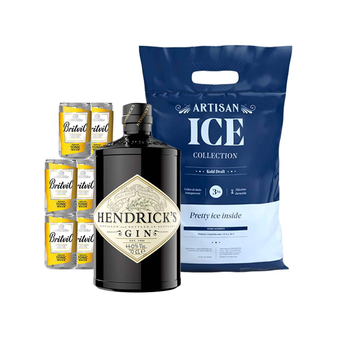 Gin HENDRICKS Botella 700ml + 6 Aguas Tonicas BRITVIC Lata 150ml + Hielo 1.5kg