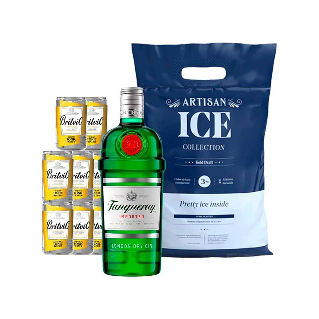 Gin TANQUERAY London Dry Botella 750ml + 8 Aguas Tonicas BRITVIC Lata 150ml + Hielo 1.5kg