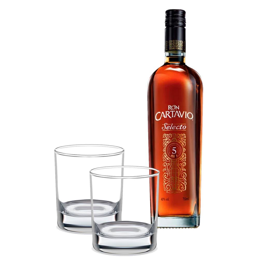 Ron CARTAVIO Selecto Botella 750ml + 2 Vasos Roneros Personalizados