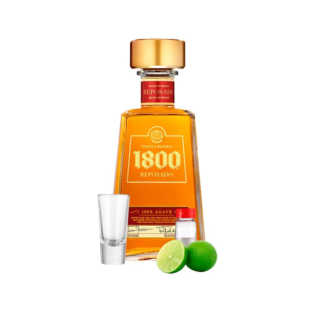 Tequila JOSE CUERVO 1800 Reposado Botella 750ml + Kit Tequilero (Sal-Limón-Shot de Tequila)