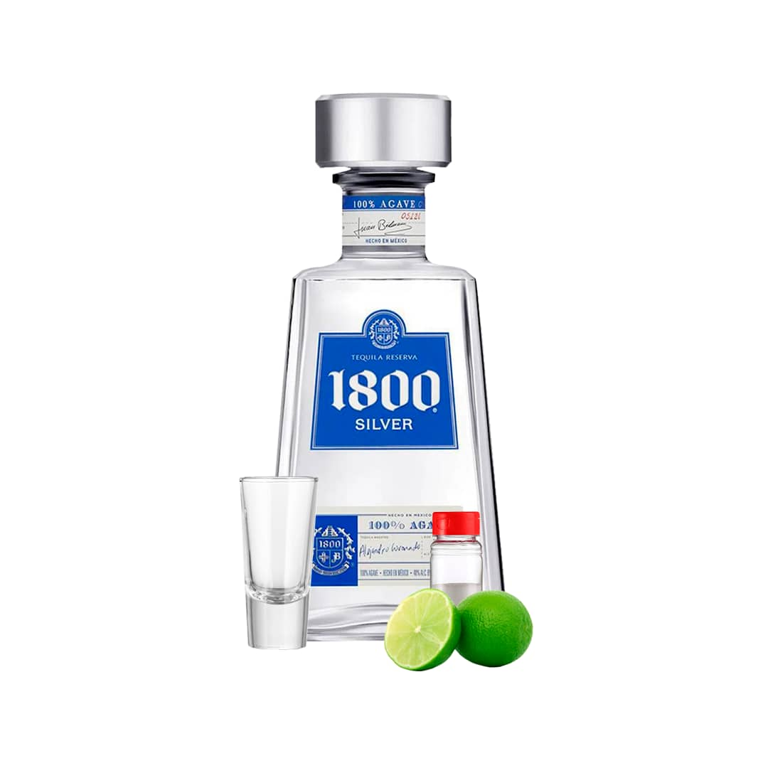 Tequila JOSE CUERVO 1800 Silver Botella 750ml + Kit Tequilero (Sal-Limón-Shot de Tequila)