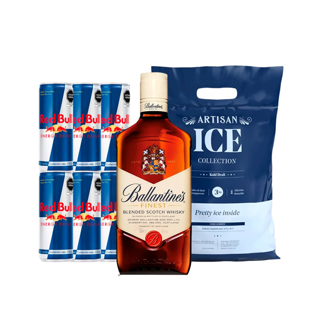 Whisky BALLANTINES Finest Botella 750ml + 6 RED BULL Lata 250ml + Hielo Bolsa 1.5kg