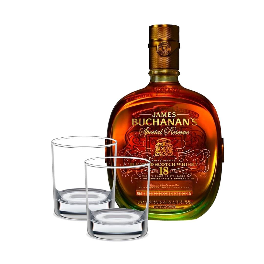 Whisky BUCHANANS Deluxe 18 años Botella 750ml + 2 Vasos Whiskeros Personalizados