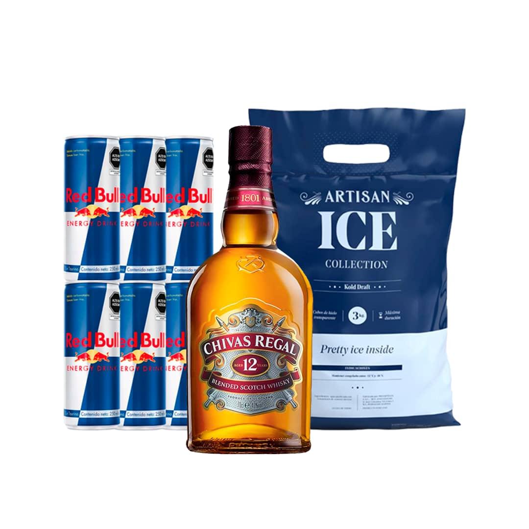 Whisky CHIVAS REGAL 12 Años Botella 750ml + 6 RED BULL Lata 250ml + Hielo Bolsa 1.5kg