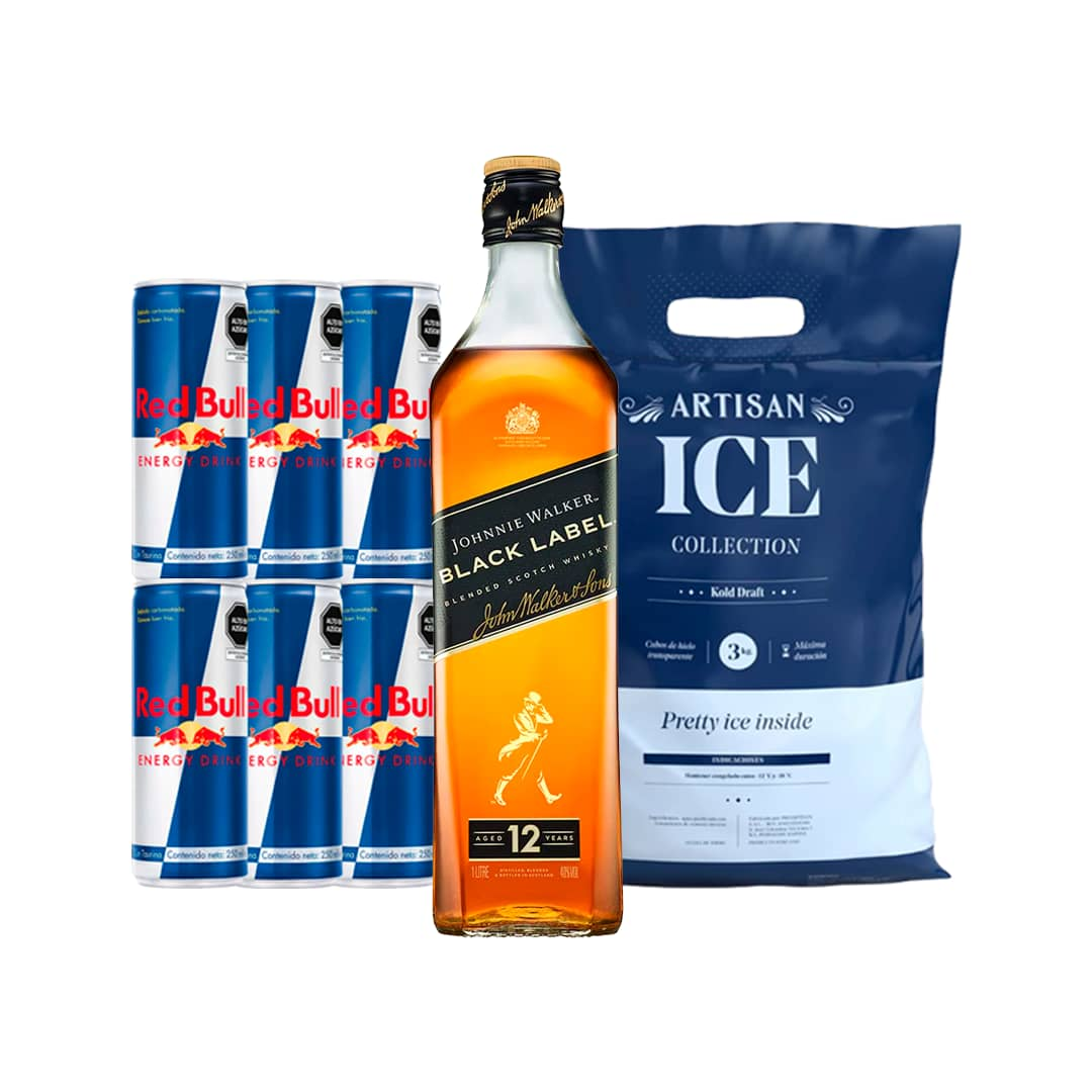 Whisky JOHNNIE WALKER Black Label Botella 750ml + 6 RED BULL Lata 250ml + Hielo Bolsa 1.5kg