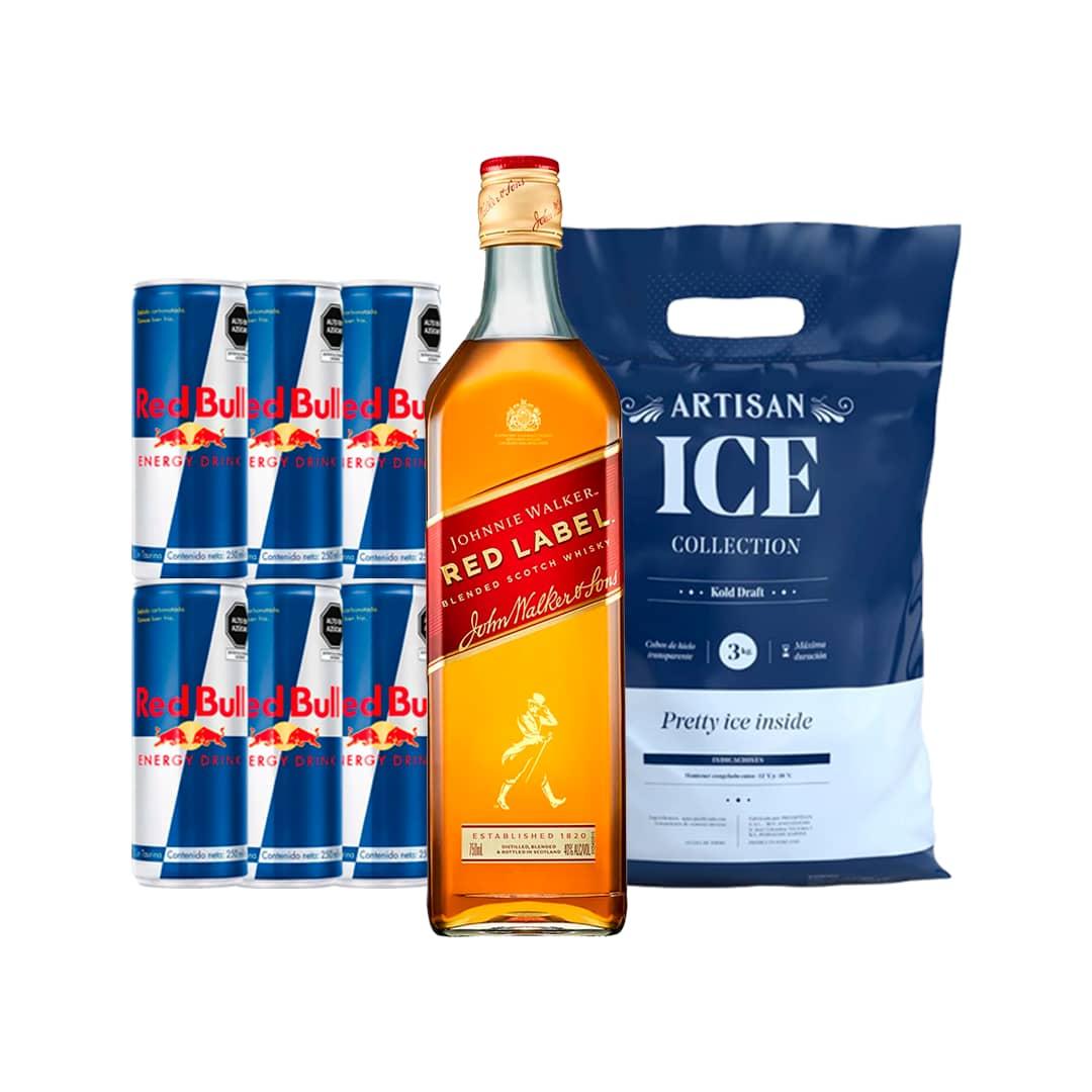 Whisky JOHNNIE WALKER Red Label Botella 750ml + 6 RED BULL Lata 250ml + Hielo Bolsa 1.5kg