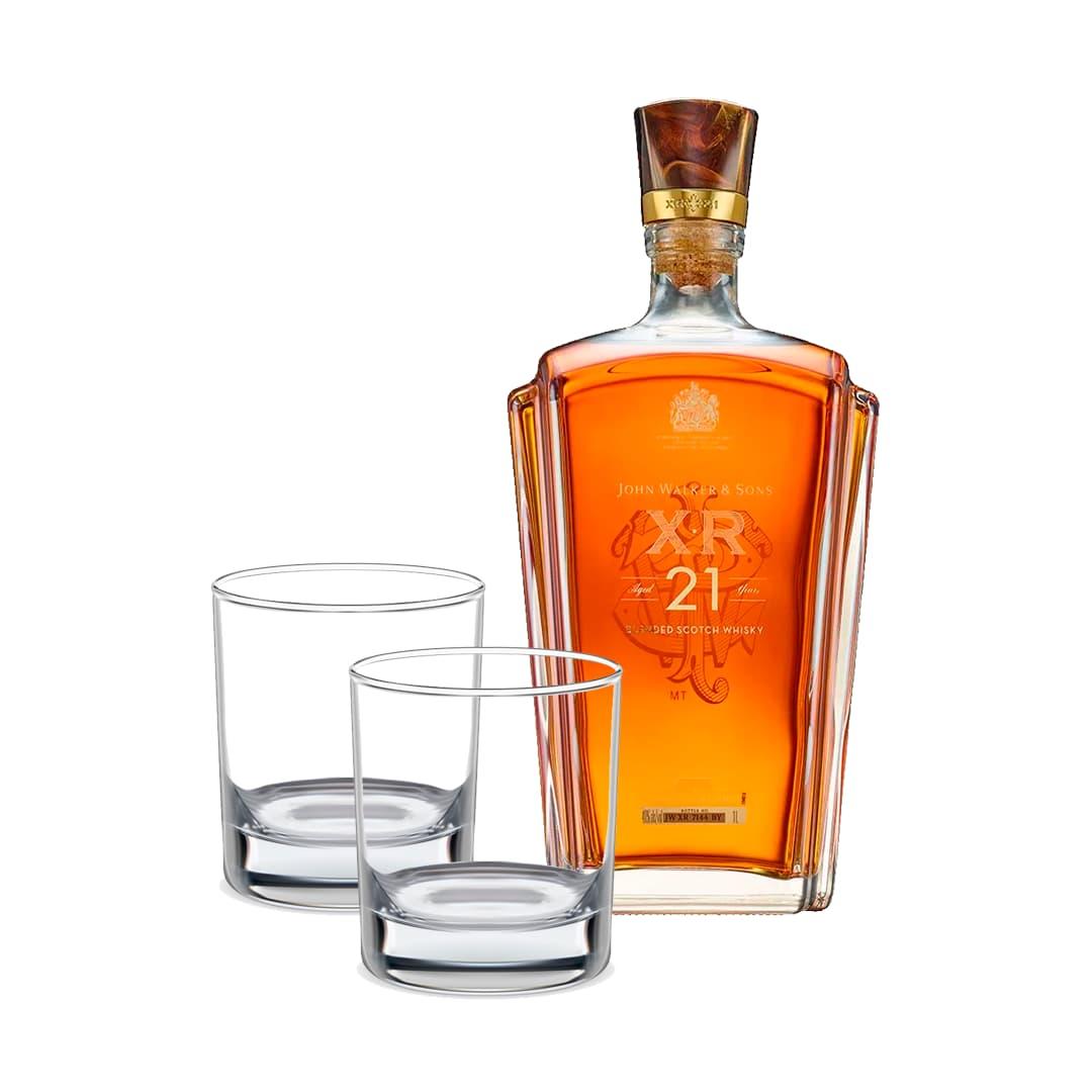 Whisky JOHNNIE WALKER XR 21 años Botella 750ml + 2 Vasos Whiskeros Personalizados