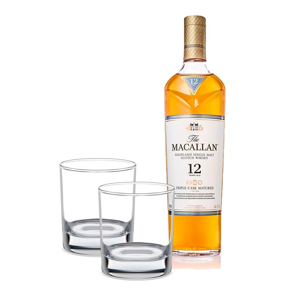 Whisky MACALLAN Triple Cask Matured 12 Años Botella 750ml + 2 Vasos Whiskeros Personalizados