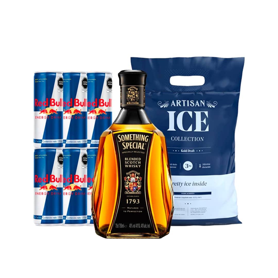 Whisky SOMETHING SPECIAL Clásico Botella 750ml + 6 RED BULL Lata 250ml + Hielo Bolsa 1.5kg